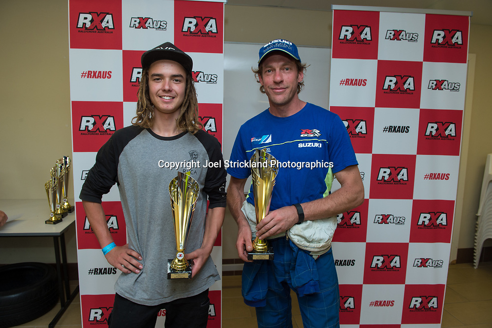 Production CLass 2WD Podium, Ross Murdoch, Mike Conway - Rallycross Australia - Rnd 1 - February 26th 2017. MARULAN DIRT & TAR CIRCUITS, MARULAN, NSW