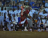 Lafayette High's Demarkous Dennis (5) returns a kickoff 95 yards for a score against Oxford at William L. Buford Stadium in Oxford, Miss. on Friday, September 2, 2011. Lafayette won 40-12