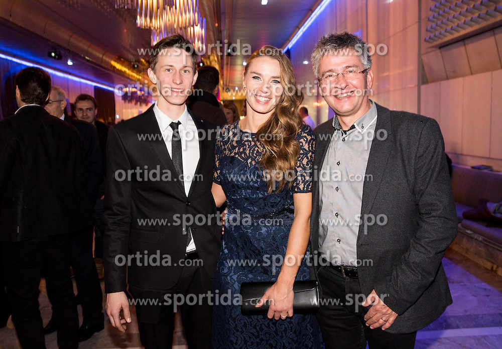 Peter Prevc, Tina Maze and Matjaz Turel and at party of Slovenian Sports personality of the year 2015 annual awards presented on the base of Slovenian sports reporters, on December 8, 2015 in Cankarjev dom, Ljubljana, Slovenia. Photo by Vid Ponikvar / Sportida