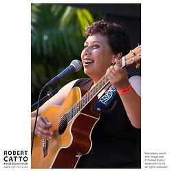 Mahinarangi Tocker performs at WOMAD Taranaki, New Zealand.