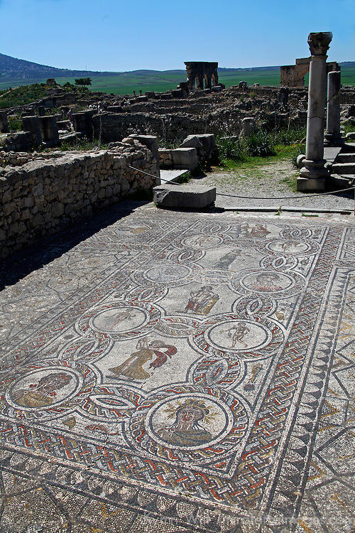 Africa, Morocco, Volubilis. Mosaic of the Four Seasons in the House of the Labours of Hercules, Volubilis.