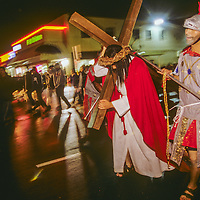 Members of the largely Hispanic Saint Anthony's Catholic Church in Falls Church, Virginia participate in a Good Friday reenactment of the Stations of the Cross.