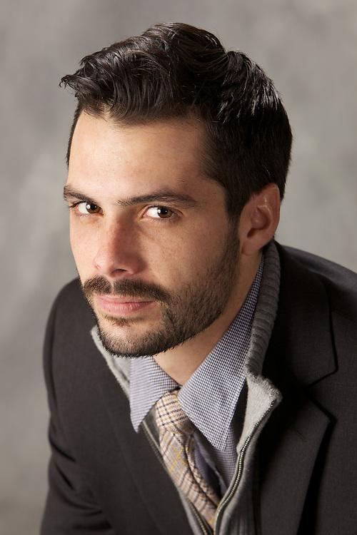 male, model, male model, twenties, 20's, 20s, young male, male brunette, headshot, headshots, portrait, studio