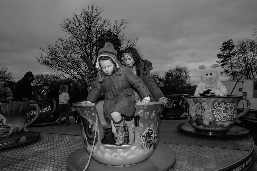 Children leave the teacup ride after having turn in the ride at the Bunny Hop Easter school fair in Berkhamsted, England Saturday, March 19, 2016 (Elizabeth Dalziel) #thesecretlifeofmothers #bringinguptheboys #dailylife