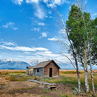 Old abandoned shed and Aspen trees near Grand Teton National Park, Wyoming.  This was a single exposure processed with an HDR toning effect.