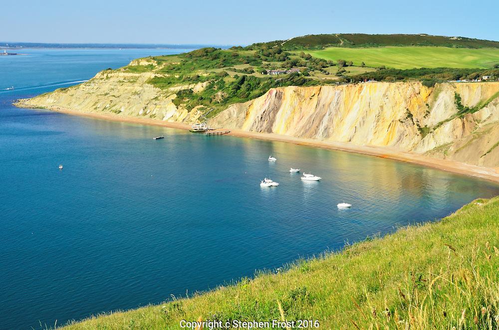 Alum Bay, Isle of Wight, Southern England; mineralisation explains the multi-coloured rocks.