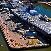 Aerial photograph of the aircraft carrier Intrepid (CVS-11), The Intrepid Sea, Air & Space Museum, Hudson River, New York