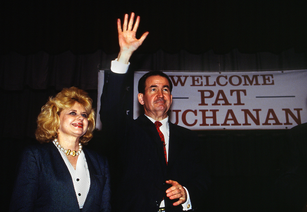 1992 Republican Presidential candidate Pat Buchanan and his wife Shelly at campaign stops at a Barbecue restaurant in rural Elijah, Georgia, saying the pledge of allegiance in Marietta, Georgia and in television ads in the Atlanta broadcast market.