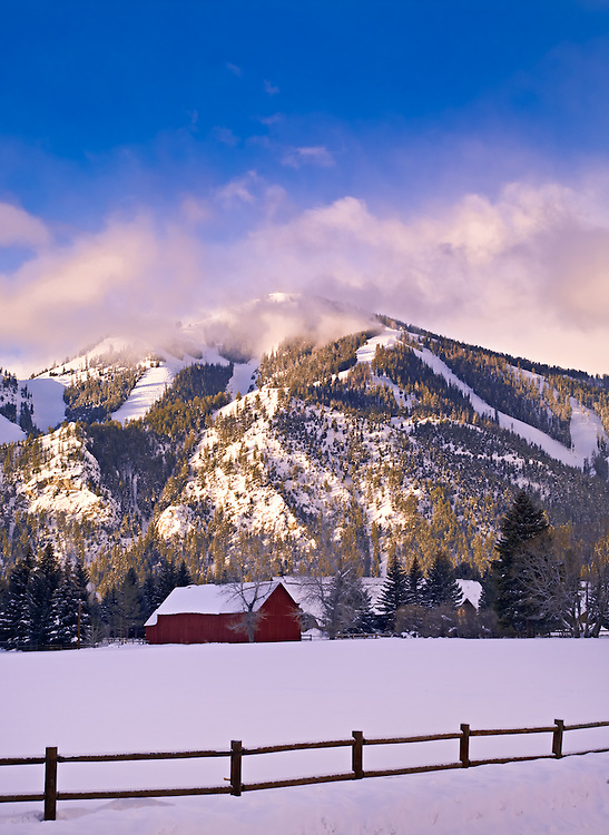 The Sun Valley Barn, with Bald Mountain in the background. Sun Valley, Idaho