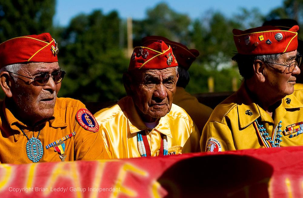 081408      Brian Leddy.Navajo Code Talkers Bahe Ketchum,  Jimmy Begay and Daniel Peaches during the Navajo Code Talker Day Parade.