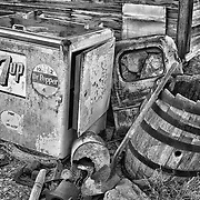 Vintage 7up Dr Pepper Cooler Among Rusting Artifacts - Eldorado Canyon - Nelson NV - HDR -  Black & White