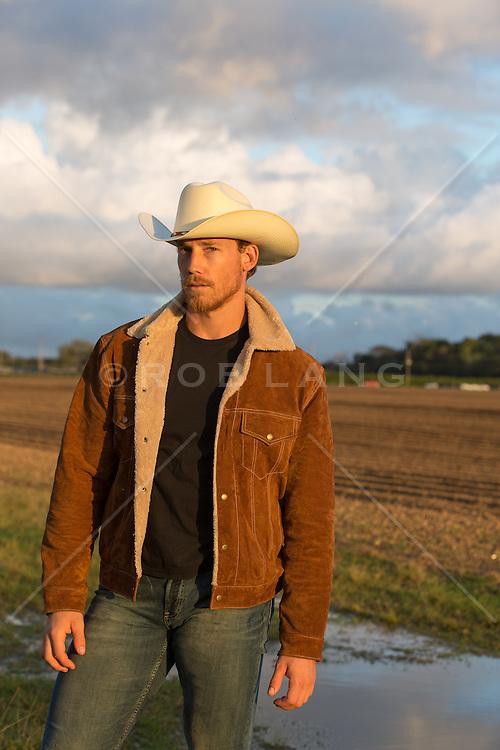 rugged cowboy outdoors