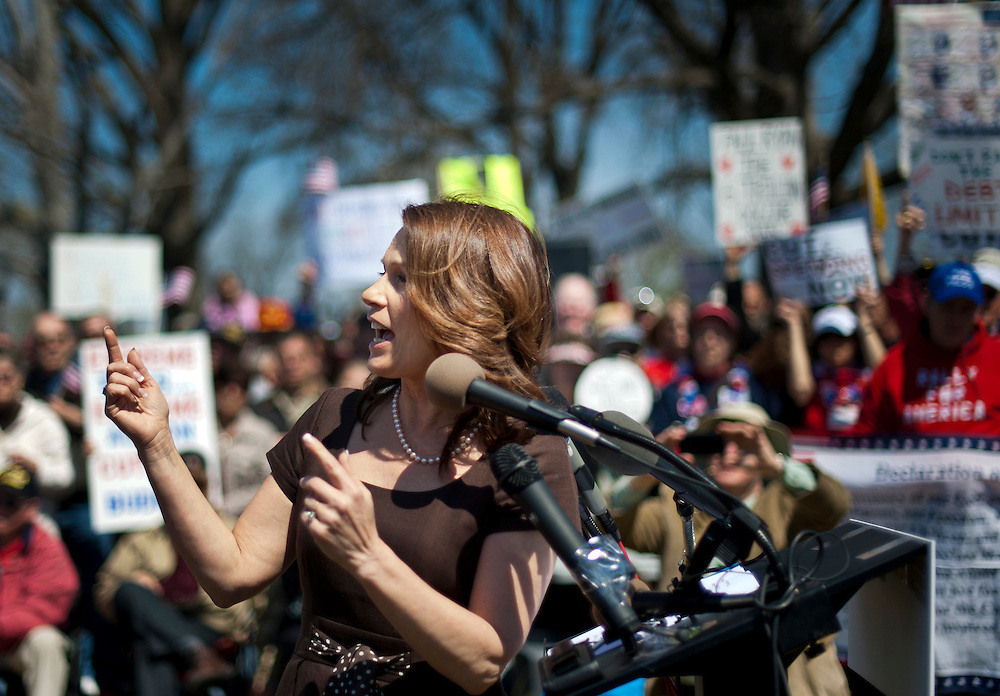 """Rep. MICHELE BACHMANN (R-MN) addresses the crowd during a rally near the U.S. Capitol. The """"Cut Spending Now Revolt"""", staged Americans for Prosperity, was held to urge lawmakers to reduce federal spending. Americans for Prosperity describes itself as the nation's leading free-market, grassroots organization."""
