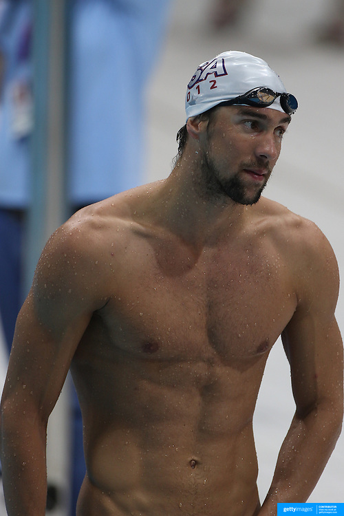 USA swimmer Michael Phelps training with the USA team at the Aquatic Centre at Olympic Park, Stratford during the London 2012 Olympic games preparation at the London Olympics. London, UK. 24th July 2012. Photo Tim Clayton