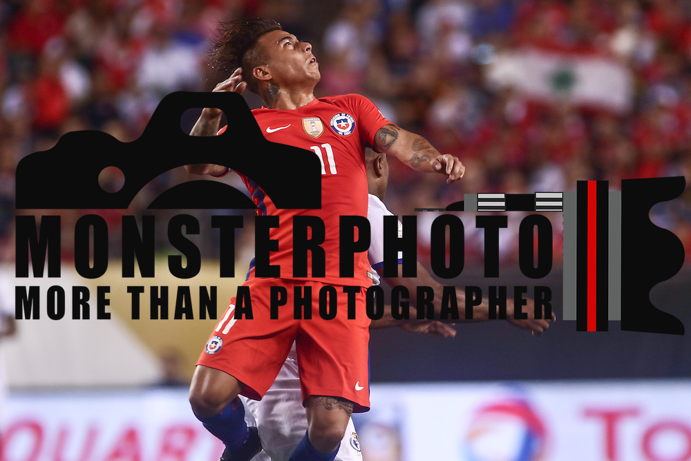 Chile Attacker EDUARDO VARGAS (11) jumps for the ball in the second half of a Copa America Centenario Group D match between the Chile and Panama Tuesday, June. 14, 2016 at Lincoln Financial Field in Philadelphia, PA.