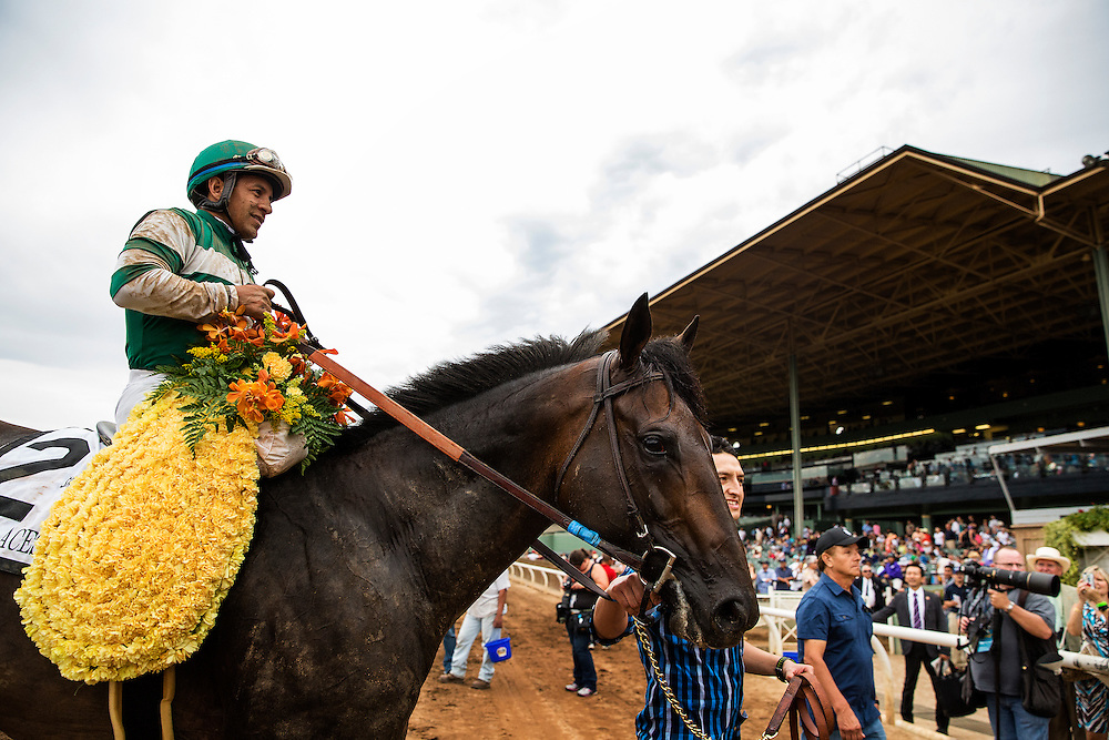 June 27 2015: Hard Aces with Victor Espinoza up narrowly defeats Hoppertunity and Martin Garcia to win the Santa Anita Gold Cup at Santa Anita Park in Arcadia CA. Alex Evers/ESW/CSM