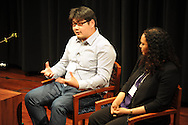 "Bill Cheng (left) speaks during a segment titled ""Fiction, Memory, and Southern History"", at the Oxford Conference for the Book, in Oxford, Miss. on Wednesday, March 26, 2014."