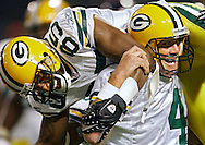 (2007)-Green Bay Packers' Brett Favre celebrates completing his 421 touchdown pass to break the NFL Career Touchdown record that was held by Dan Marino. The pass was a 16-yard pass to Greg Jennings who Favre lifted after the play. .The Green Bay Packers traveled to the Metrodome in Minneapolis to play the Vikings Sunday September 30, 2007.