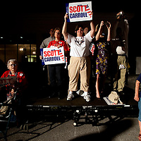 TAMPA, FL -- October 25, 2010 -- Supporters listen to Republican candidate for governor Rick Scott at a post-debate rally in Tampa, Fla., on Monday, September 25, 2010.  Scott was kicking off his final week of campaigning in the heated race for Florida Governor against Democrat Alex Sink.