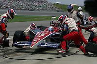 Buddy Rice pits at the Kansas Speedway, Kansas Indy 300, July 3, 2005