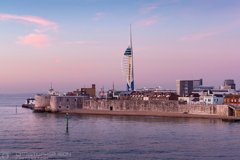The Spinnaker Tower and the entrance to Portsmouth Harbour as seen during approach from the sea.<br /> Picture date: Thursday January 19, 2017.<br /> Photograph by Christopher Ison &copy;<br /> 07544044177<br /> chris@christopherison.com<br /> www.christopherison.com