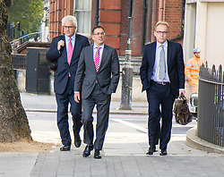 London, September 22nd 2016.  Christopher Bush, centre, the former managing director of Tesco UK, charged with one count of fraud by abuse of position and one count of false accounting, arrives at Westminster Magistrates Court, with former Prime Minister David Cameron's Brother Alexander Cameron QC (left) following the 2014 &pound;263m-plus accounting scandal at the supermarket chain. &copy;Paul Davey<br /> FOR LICENCING CONTACT: Paul Davey +44 (0) 7966 016 296 paul@pauldaveycreative.co.uk