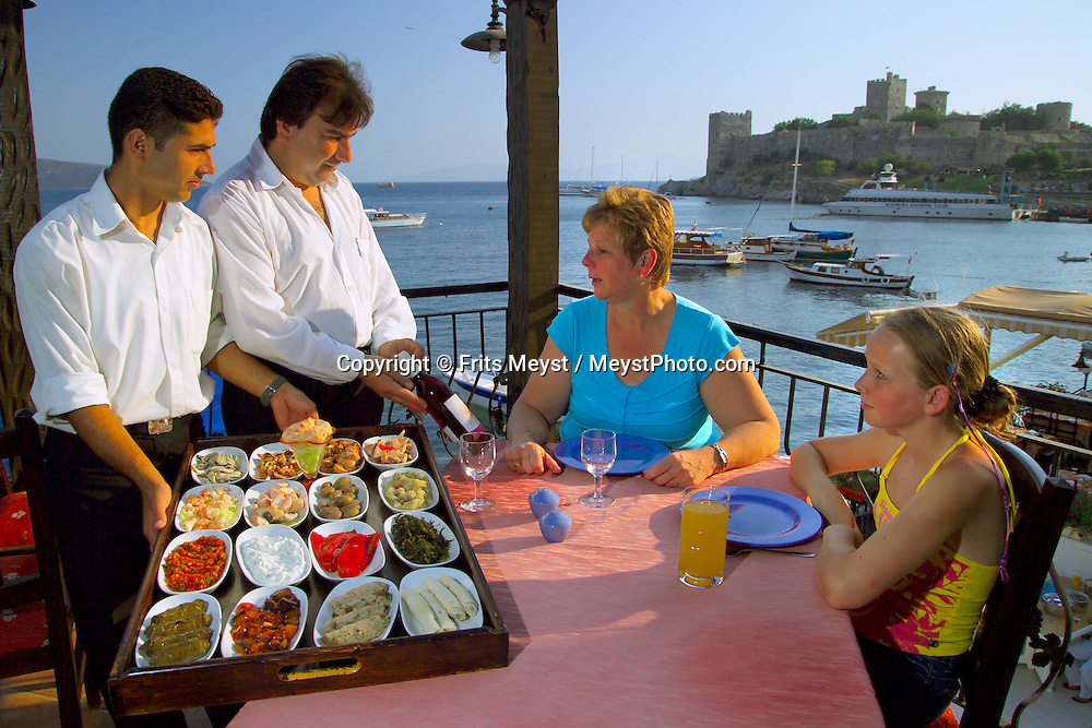 Bodrum, Turkey, July 2004. A selection of Mezze starters before a sunset dinner.  Photo by Frits Meyst/Adventure4ever.com