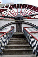 "The Great Laxey Wheel, or ""Lady Isabella"", was build in 1854 to pump water from Laxey's lead and zinc mines. It is the largest working water wheel in the world, with diasmeter of 72,5 ft. In its heyday the wheel was capable of pumping 250 gallons of water a minutefrom the mines 1500 ft below ground. Today, the mines are closed and the Great Wheel is Isle of Man's best known landmark and a large tourist attraction"