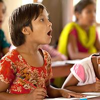 School girl practing English at Kopila Valley Primary School, Surkhet, Nepal