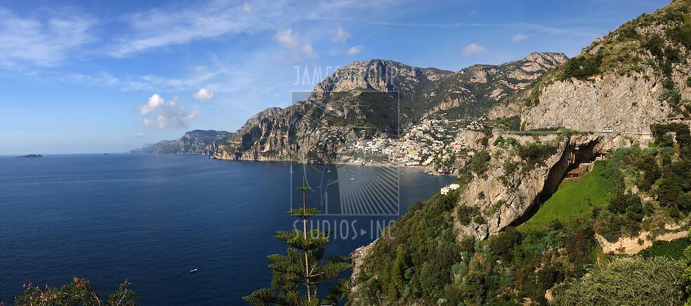 Amalfi Coast looking North across the Mediterranean toward Positano