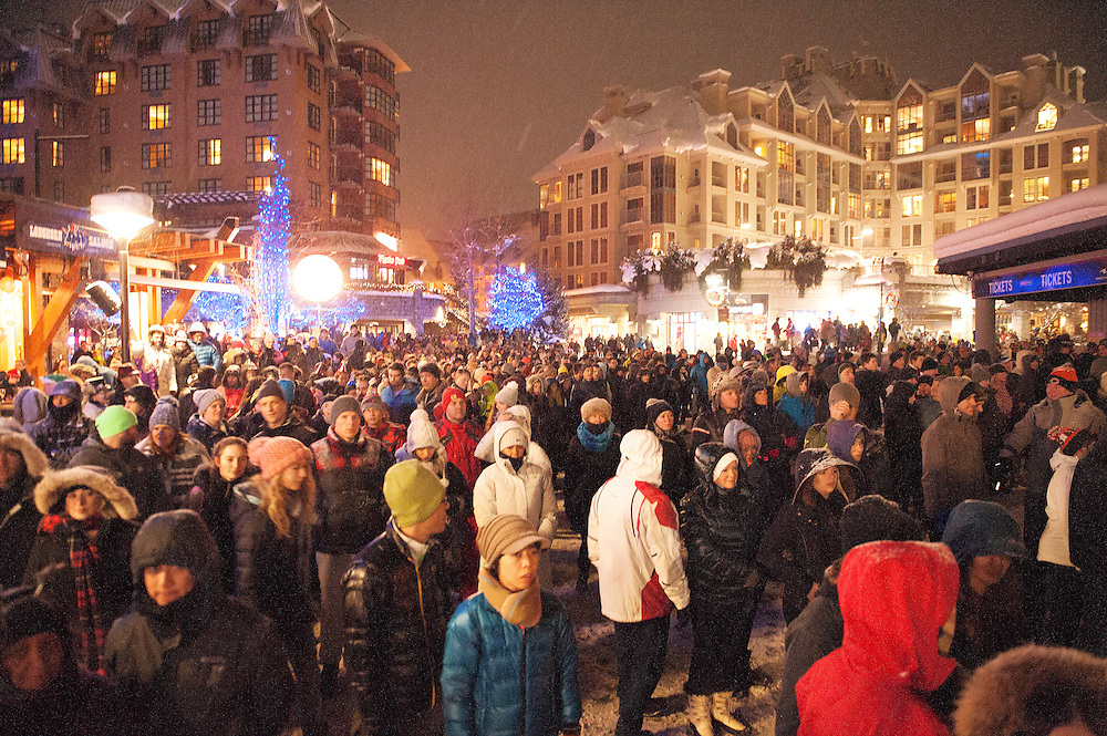 Crowds take in the New Year's Eve Fire &amp; Ice show at the Skier's Plaza in the Whistler Village.  Saturday, Dec 31, 2016,<br /> <br /> Photo:  David Buzzard