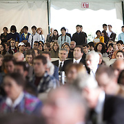 10/21/2011- Medford/Somerville, Mass. - A standing room-only audience was on hand to see Tufts President Anthony Monaco's inauguration as the University's 13th president on Oct. 21, 2011. (Kelvin Ma/Tufts University)