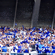 EL Salvador fans celebrating a EL Salvador score during the concacaf gold cup quarterfinals Sunday, June 19, 2011, at RFK Stadium in Washington DC.