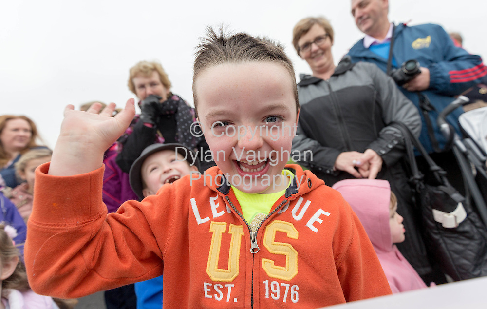 Repro Free no charge for repro<br /> 29-11-14<br /> Cormac Byrne aged 5 from Bagenalstown Co. Carlow watches as Santa arrives to the Arboretum &quot; Your Home and Garden Heaven&quot; in Carlow over the weekend.<br /> <br /> <br />  Picture Dylan Vaughan.