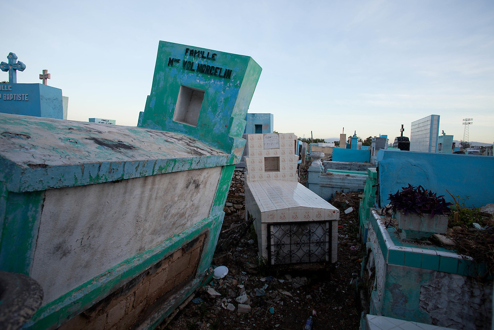 The Port-Au-Prince National Cemetery. November 1st and 2nd, known in Haiti as Gede, are a celebration of All Saints Day and All Souls Day. In Vodou, the Gede are the spirits that embody the powers of death and fertility. Practitioners come to the National Cemetery to honor their ancestors and to petition the spirits.