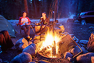 Friends around the campfire in on Independence Pass near Aspen, Colorado.