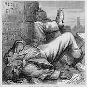 """One Vote Less""  Vintage Illustration:  Harper's Weekly  1872 KKK  murders of blacks in Alabama, Virginia, Georgia, Mississippi"