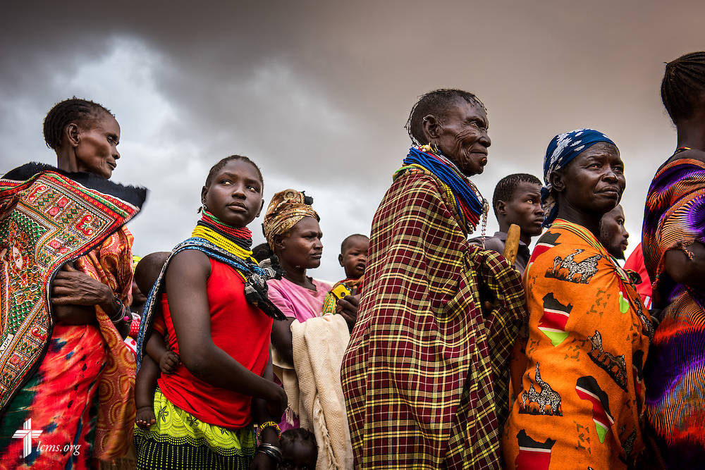 Patients queue for registration at the LCMS Mercy Medical Team on Tuesday, June 21, 2016, in Nataparkakono, a village in Turkana, Kenya.  LCMS Communications/Erik M. Lunsford