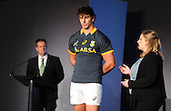 CAPE TOWN, SOUTH AFRICA - Thursday 24 April 2014, Eben Etsebeth, during the Asics launch of the new Springbok rugby jersey at The Lookout in the V&amp;A Waterfront<br /> Photo by Roger Sedres/ImageSA