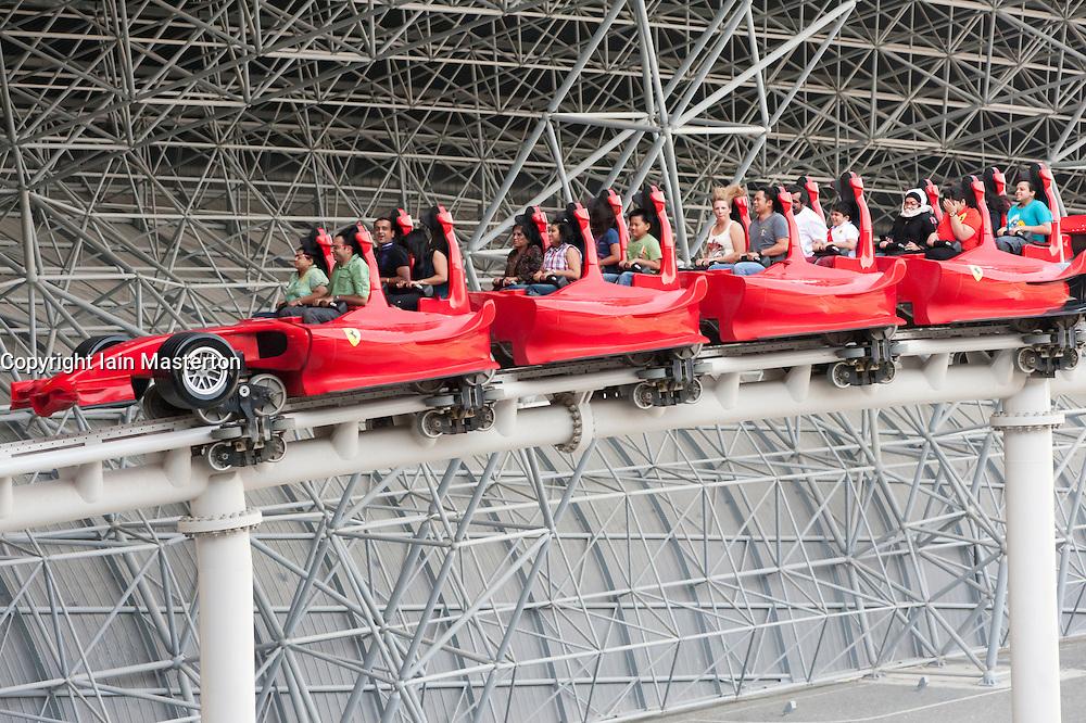 Roller coaster at Ferrari World theme park in Abu Dhabi UAE United Arab Emirates