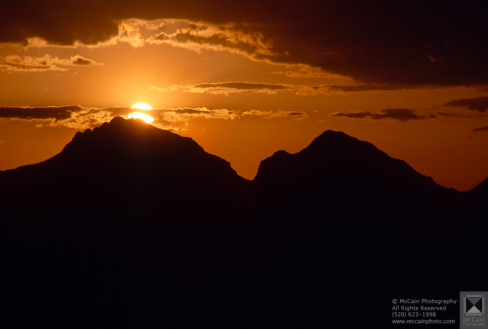 """View of sunset from """"A Mountain,"""" Tucson Mtn. Park, Tucson, AZ"""