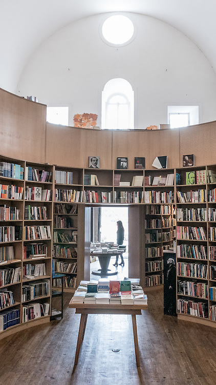 The Church of São Tiago in Obidos was built in 1186 by Portuguese king D. Sancho I. It was used so often by the royal family that one doorway opened directly into the castle. The church, completely destroyed in the earthquake of 1755, has been transformed into a beautiful bookstore.