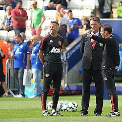 Manchester United's Ryan Giggs and Manchester United's Manager Louis van Gaal during the Barclays Premiership match between Leicester City FC and Manchester United FC, at the King Power Stadium, Leicester, 21st September 2014 © Phil Duncan | SportPix.org.uk
