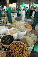 Fragant dried spices in huge sacks at the Spice Souq . Abra Station. Deira. Dubai<br />