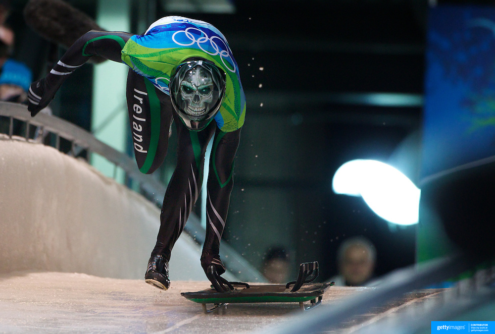 Winter Olympics, Vancouver, 2010.Patrick Shannon, Ireland,  in action during the Skeleton  competition at Whistler Sliding Centre, Whistler, during the Vancouver Winter Olympics. 18th February 2010. Photo Tim Clayton