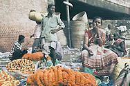Flower vendors, Kolkata, West Bengal, India.