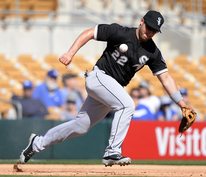 GLENDALE, AZ - MARCH 04:  Matt Davidon #22 of the Chicago White Sox fields during a spring training game between the Los Angeles Dodgers and Chicago White Sox on March 4, 2015 at The Ballpark at Camelback Ranch in Glendale, Arizona. (Photo by Ron Vesely)   Subject:  Matt Davidson