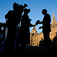 UK. London. From a story on Abingdon Street Gardens, a small patch of land, often referred to as College Green, that lies next to The Houses of Parliament in Westminster. It is a place where the media and the politicians come face to face. Interviews are held, photo shoots are set up and bewildered tourists stroll by..Photo©Steve Forrest/Workers Photos