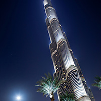 United Arab Emirates, Dubai, Low angle view of palm trees at base of Burj Khalifa, in 2010 the tallest building in the world, at night