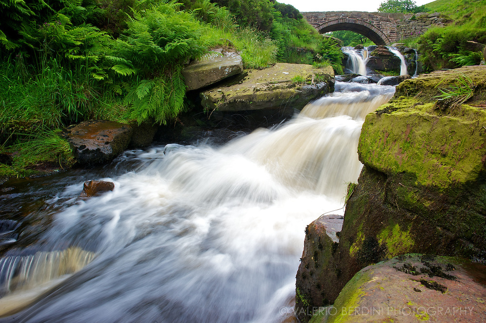 Waterfall at Three Shires Head. Peak District, UK.